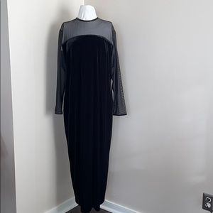 Jessica Howard Velvet Illusion-Sleeve Sheath Dress